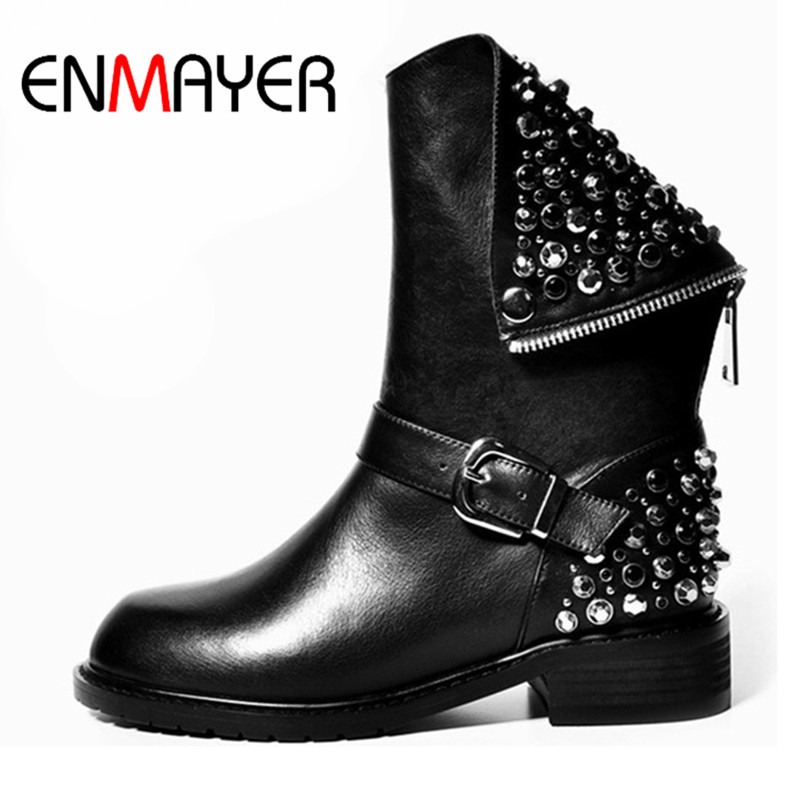 ФОТО ENMAYER New Classic Black Boots Shoes Mid-calf Boots Winter Warm Shoes Size 34-39 Motorcycle Boots Shoes Woman Rivets Charms
