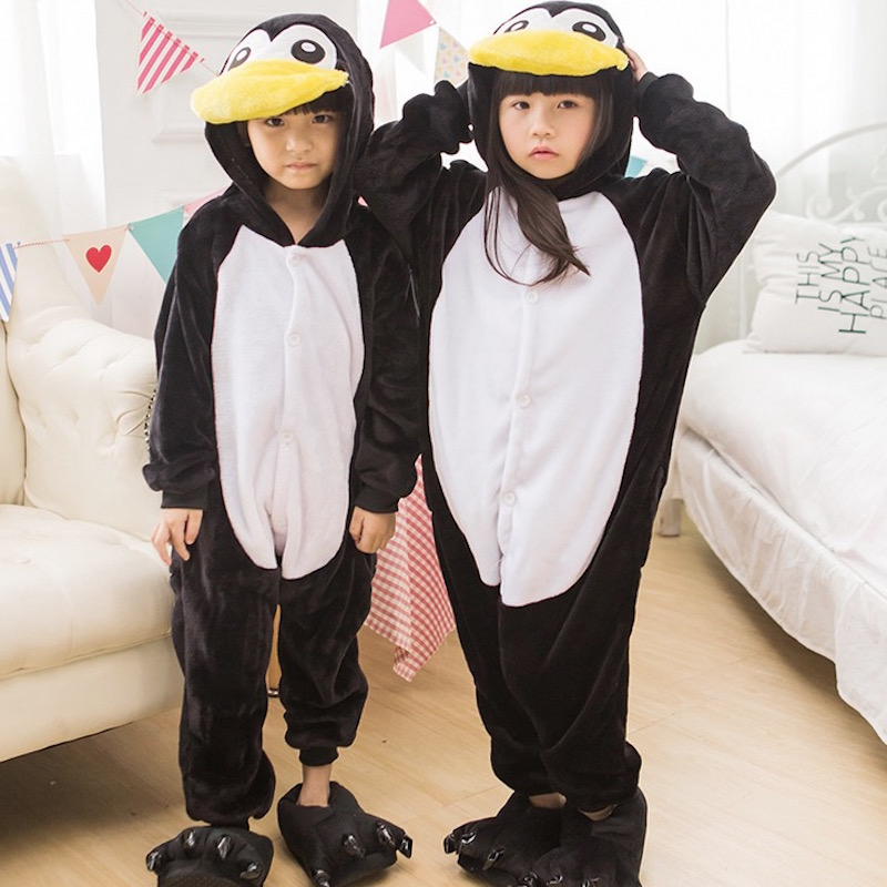 Animal cute Penguin Pajamas Children Onesies baby Cosplay Costume Unisex robe kids clothes Boys Girls Flannel Sleepwear Pyjama