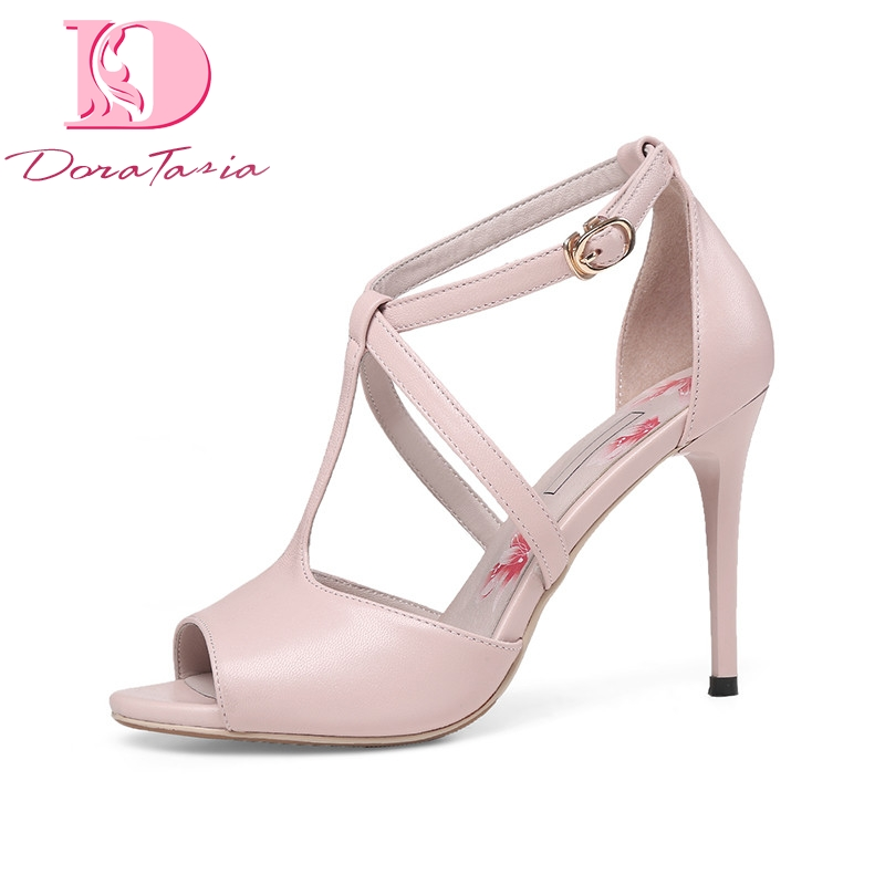 DoraTasia 2018 Summer Elegant Kid Leather Women T-strap Sandals Super High Thin Heels Shoes Woman Big Size 33-40 Leisure Shoe new arrival black brown leather summer ankle strappy women sandals t strap high thin heels sexy party platfrom shoes woman