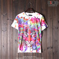 Casal Correspondência Popular Manga Curta Branco Fundo 3D T shirt Homens Paródia Impressão Tigre Dos Desenhos Animados T-shirt Camisa Assentamento dos homens
