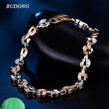 BUDONG Women Bracelet Fashion 20cm Promotion Austrian Crystal CZ Link Chain Silver/Gold-Color Bangle Wedding Jewelry XUL154