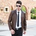 Estilo europeu jaqueta De Couro masculino magro outerwear motocicleta roupas de couro dos homens da pele de carneiro de Couro cor sólida