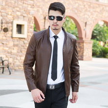 European style Leather jacket male slim outerwear sheepskin Men 's motorcycle leather clothing solid color Leather