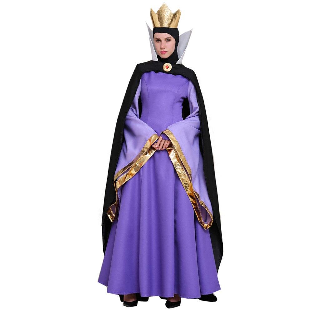 Blanche neige robe de reine du mal Costume Costume robe Cape couronne adulte Halloween carnaval fête Cosplay Costume