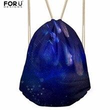 FORUDESIGNS Galaxy Printed Women Drawstring Backpack Small School Girls  Bagpack Drawstring Bags Travel Men Mini Package