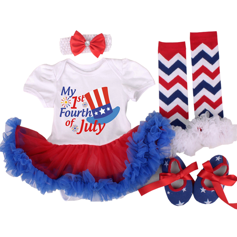 4th of July Baby Girls Clothing Set Star Girls Romper Tutu Dress Girls Outfit American Flag Baby Clothes 4pcs Suit Kids Clothes 4th of july baby girls clothing set summer girls tees ruffle short girls outfit american usa flag baby clothes 2pcs kids clothes
