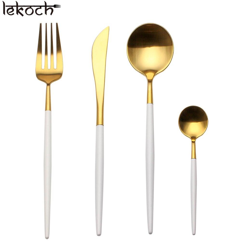 Lekoch cubiertos 4 unids Acero inoxidable Vajilla Cucharas de cocina ...
