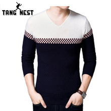 TANGNEST Fashion Pullover Men 2017 Hot Sale New Design Long-sleeved Pull Homme Casual Slim Patchwork Sweater Men MZL722