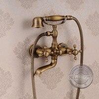 Wall mounted Bathroom Clawfoot bathtub faucet & hand shower.Basin sink Mixer Tap.three handle tub faucet & hand shower GY 855