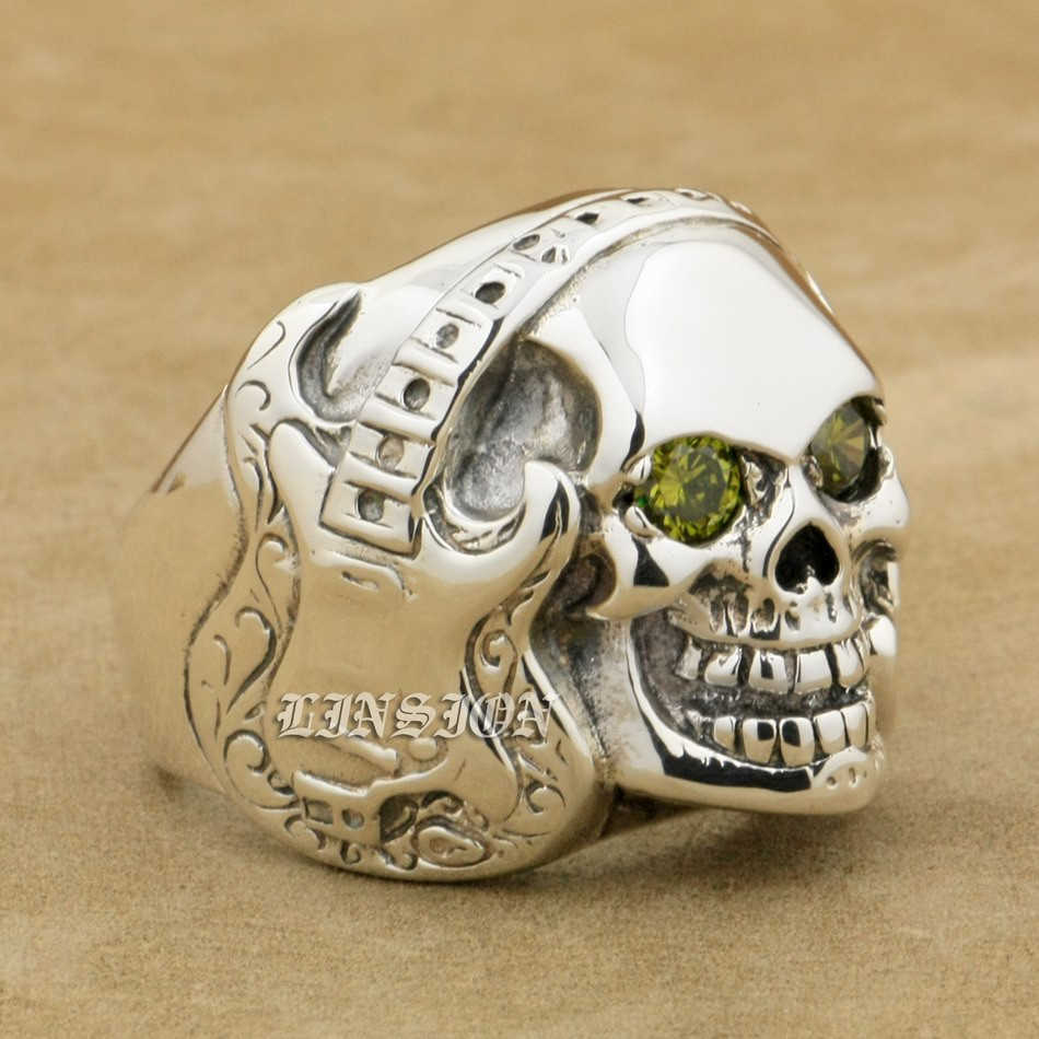 US Size 8 to 14 Guitar Music Skull 925 Sterling Silver Black Olive Colour CZ Eyes Mens Biker Rocker Punk Ring 8V213 r003 skull shaped titanium steel ring black silver us size 8
