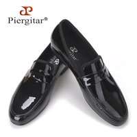 2015 Piergitar New Arrival Classic Designed Black Patent Leather Loafer Suitable For Party Need Free Shipping