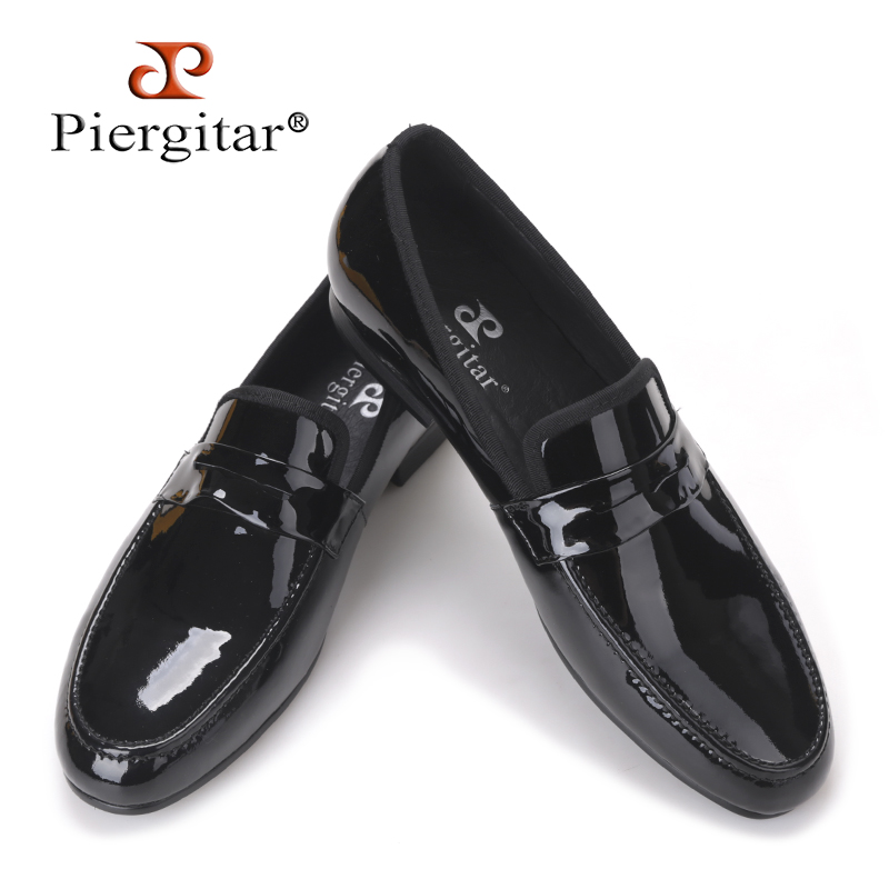 Classic Designed Black Patent Leather handmade Shoes Men Party and Wedding Loafers Men Flats Size US 4-17 Free shipping new arrival fashion embroidery genuine leather man shoes handmade wedding and party loafers men flats size 39 47 free shipping