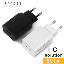 !ACCEZZ EU Plug Adapter Charger For iPhone X 8 XS MAX XR Samsung S9 S8 Plus Universal Travel Wall 5V 1A Charging Power Bank