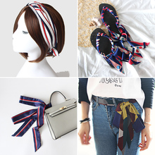 New Korean silk scarf for women Narrow extra small long Scarf bag Belt Hair Ribbon skinny neckerchief girl