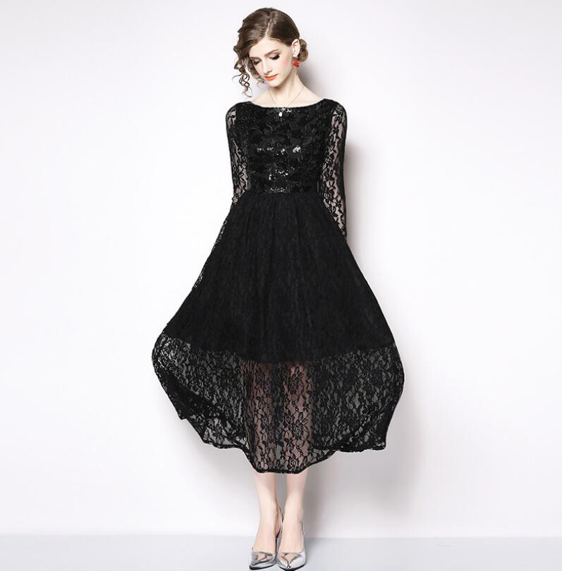 Woman Dresses 2019 Long Sleeve Hollow Out Wedding Party Wear Casual Straight Sexy Lace Dress Plus Size Casual Lady's Dress S 3XL