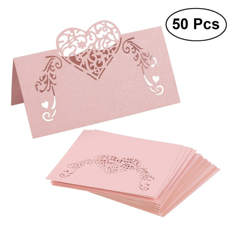 50PCS Creative Love Invitation Card Hollow Wedding Seat Blessing Greeting Supplies PY