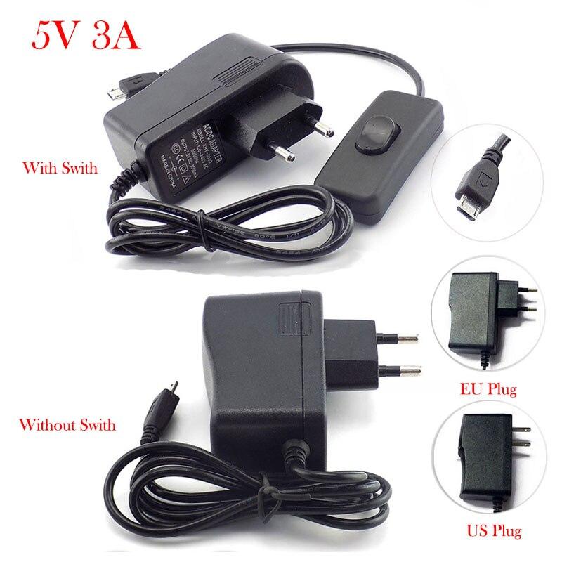 Adaptador de corriente de CA a CC Micro USB con interruptor de encendido/apagado US EU 100 V-240 V cargador convertidor DC 5V 3A 3000mA para Raspberry Pi Cargador de batería de litio serie 10 36-42V 2A cargador 42V cargador de batería de litio para vehículo eléctrico conector de paquete de batería de litio
