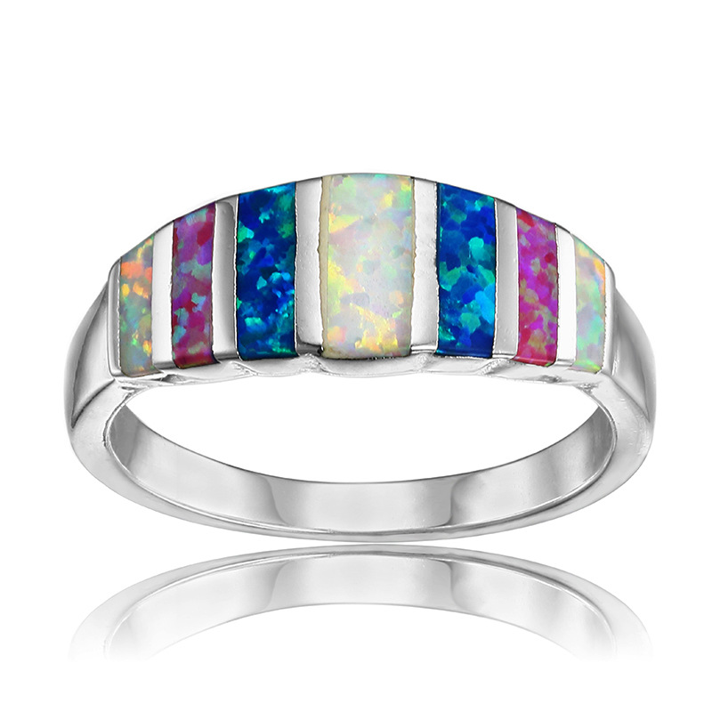 AMORUI Rainbow Opals Wedding Rings for Women Blue Pink White Green Fire Opal Engagement Silver Ring