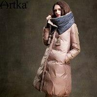 Artka Women S 2015 Winter Vintage Long Section 90 White Duck Coat Long Sleeved Comfortable Downcoat