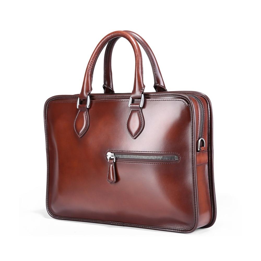TERSE_Fashion mens briefcase tobacco/ burgundy in stock handmade leather handbag tote bag genuine leather bag LN0472 burgundy met 1 2 in x150