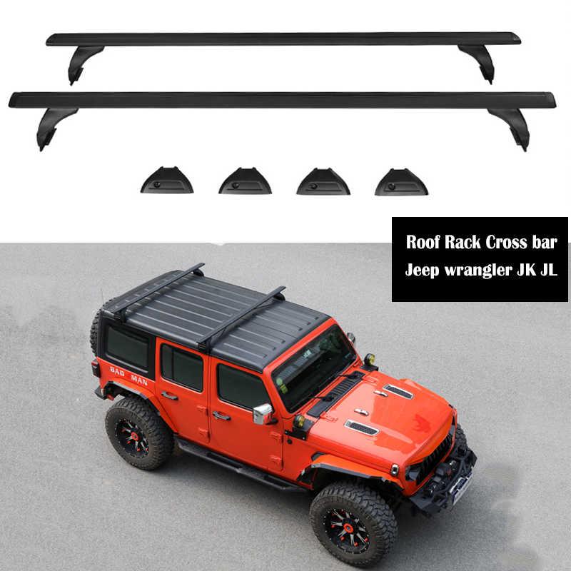 aluminum alloy roof rack for jeep wrangler jk jl 2007 2021 rails bar luggage carrier bars top cross bar rack rail boxes