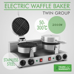 Commercial double stainless steel  waffle maker/waffle baker / Electric Double Non-Stick Waffle Maker Baker