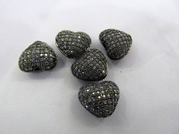 free ship--12pcs 10mm Micro Pave Diamond Heart Pendant, Pave Black Diamond CZ Pendant, Heart Charm,Heart Ring earring beads