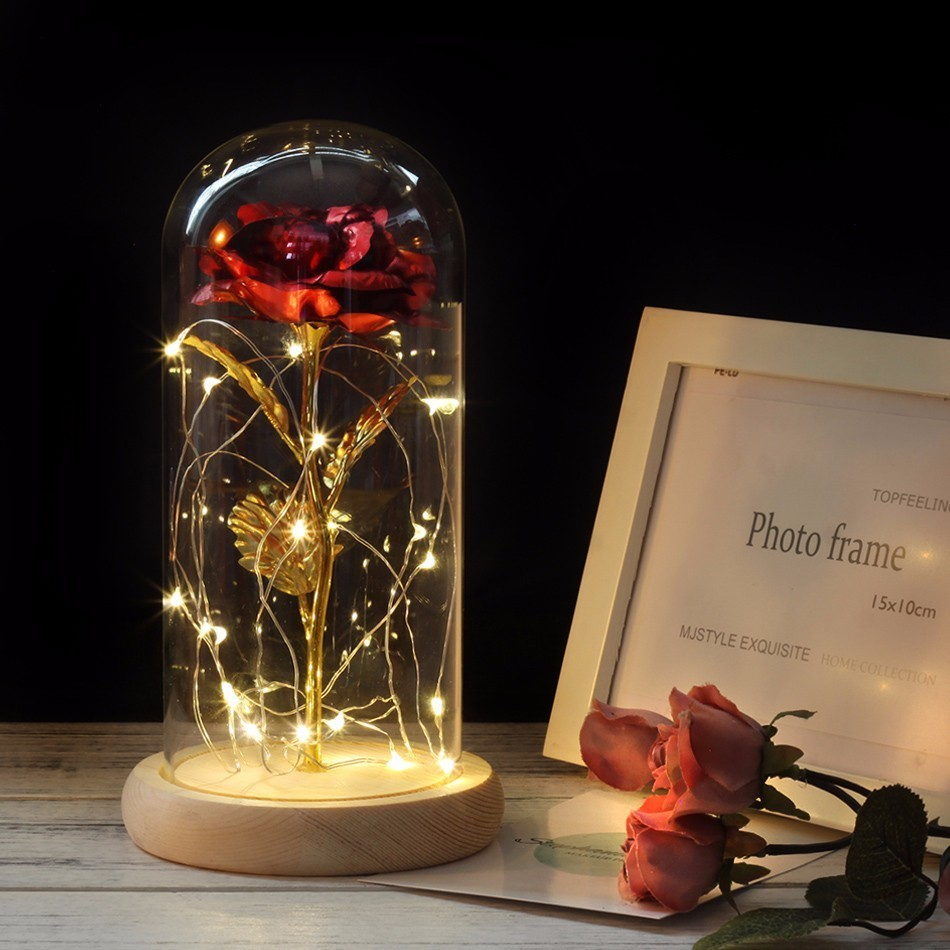HOT Rose In Flask Beauty And The Beast  Gold-plated Red Rose With LED Light In Glass Dome For Wedding Party Mother's Day Gift(China)