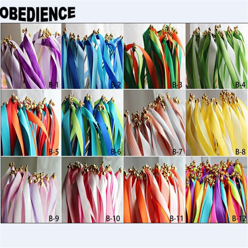 OBEDIENCE Just Married Wedding Party Ribbon Stick Wands Twirling Streamers With Bell 50Pieces Lot B1 B12