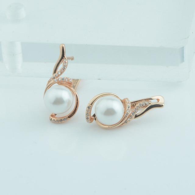 Moda biżuteria kobiety 585 różowe złoto kolor symulowane Pearl okrągły biały kryształ kwiaty spadek kolczyki