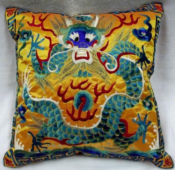 Полная вышивка дракон китайская наволочка 42x42 см квадратная декоративная Рождественская наволочка для подушки высокого класса подушка для поддержки поясничного отдела