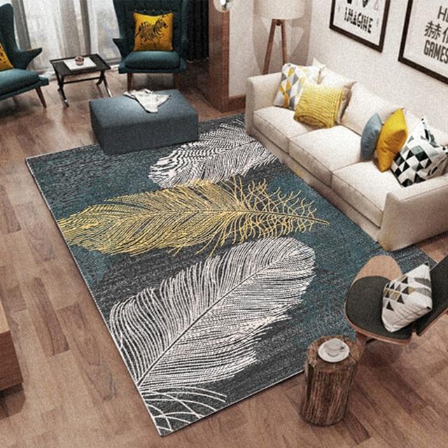 Living Room Large Rugs Wallpaper Design For Nordic 3d Feather Pattern Printing Livingroom Bedroom Carpet Wilton Modern Floor Mats Home Carpets