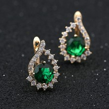 Blucome Classic England Hook Flower Earrings For Women Girls Full Crystals CZ Zircon Gold Color  Small Ohrringe Mujer Schmuck