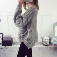 Spring And Autumn New Loose Blouse Thick Wool Sweater Pullover Female Thicken Winter Jacket Short Knitted