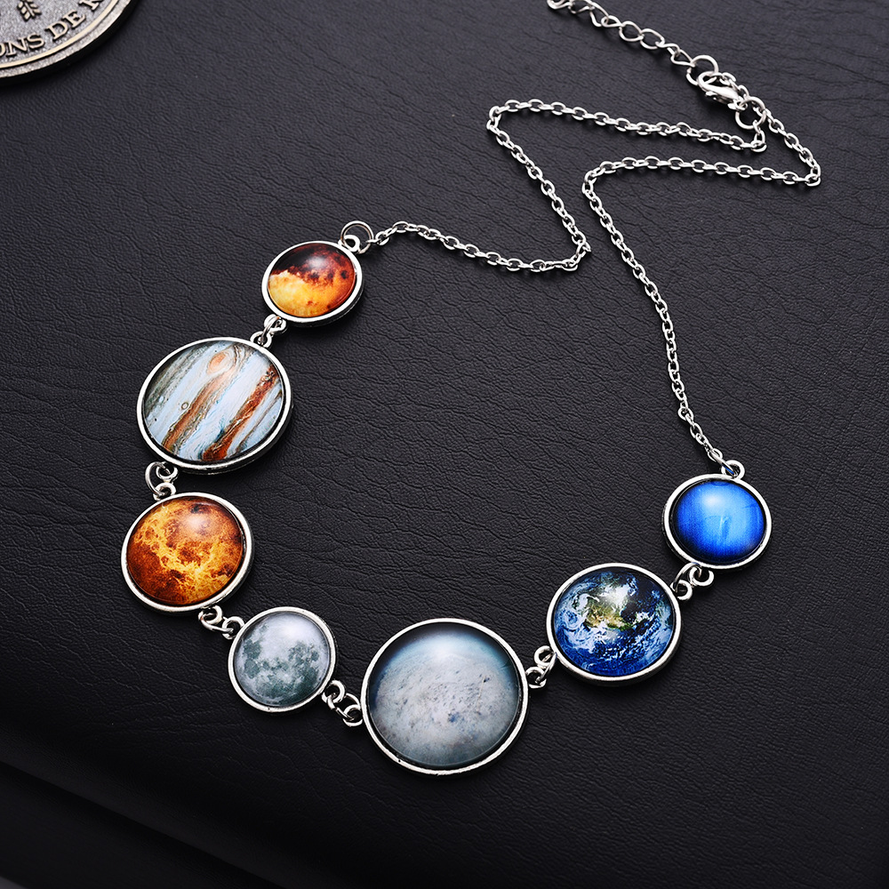Universe Solar System Necklace Bracelet Sweater Chain Galaxy Jewelry Cosmic Pattern Planet Glass Dome Space Pendant Wholesale