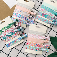 5 Pcs/lot Newly Elastic Hair Bands Ladies Hair Accessories Women Knot Popular Hair Ties Printed Hair Rope Bracelet Scrunchie(China)