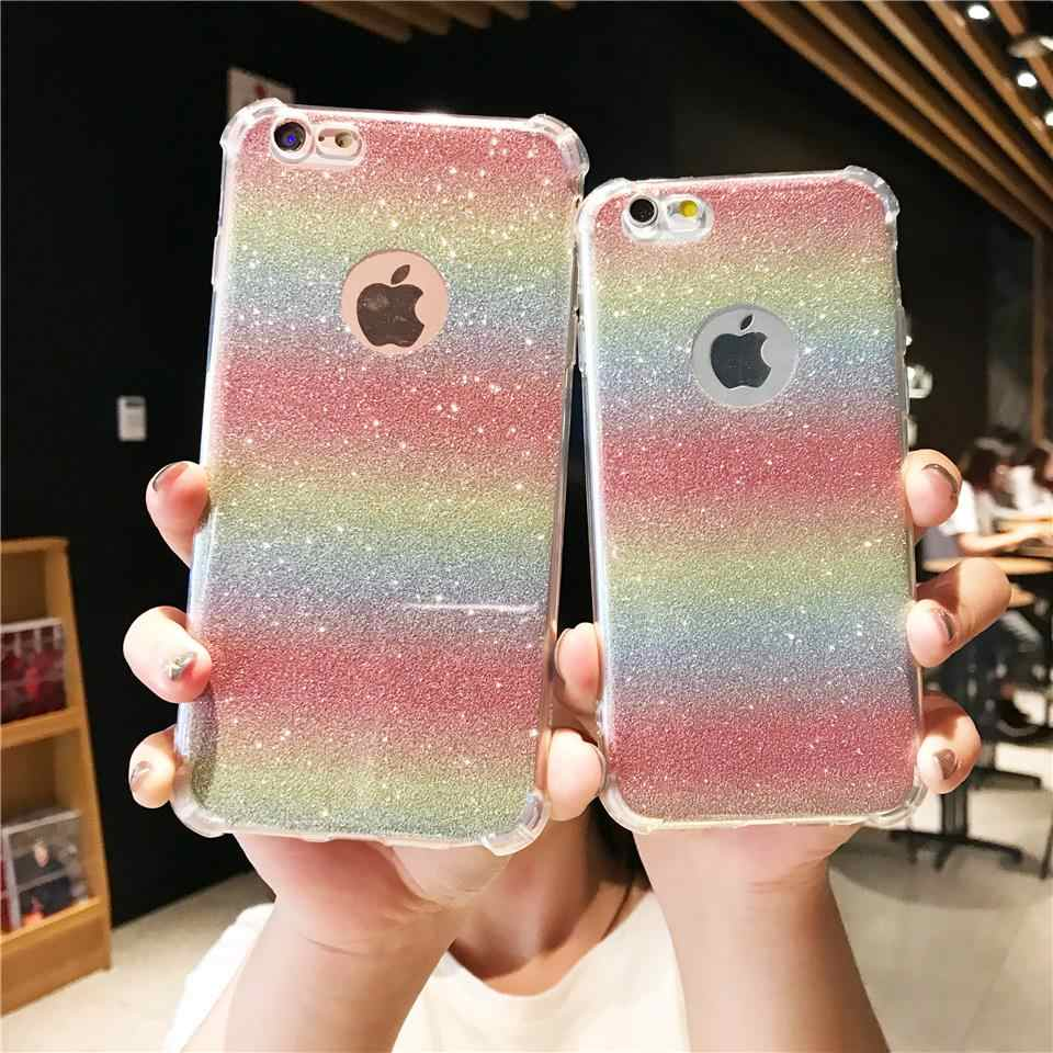Funda con brillo antigolpes 2 en 1 arco iris para iPhone 6 6 S SE 7 8 Plus X XR XS MAX la cubierta del TPU del Huawei P20 Lite P10 Nova 3 Honor 8X 6A