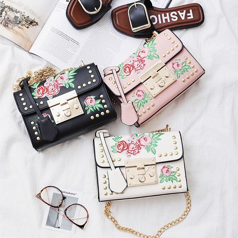 rivet bolsas atravessadas feminina senhoras Color : Black, white, pink
