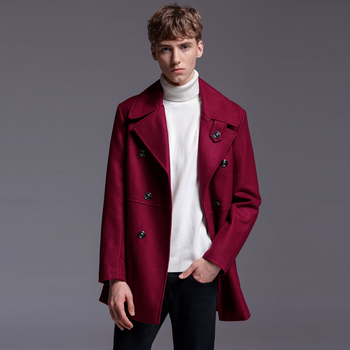 New Brand Wine Red Wool Over Coat For Mens England Fashion Double Breasted Causal Woolen Coat Male Outwear Big Size S-5XL 6XL