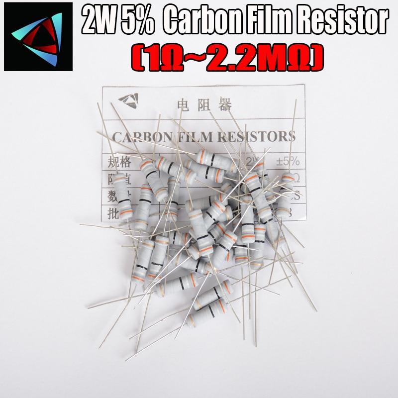 20pcs 2W Carbon Film Resistors 5% 1R ~ 10M 1R 4.7 10R 22R 33R 47R 1K 4.7K 10K 100K 10 22 47 4K7 Ohm Metal Oxide Film Resistor