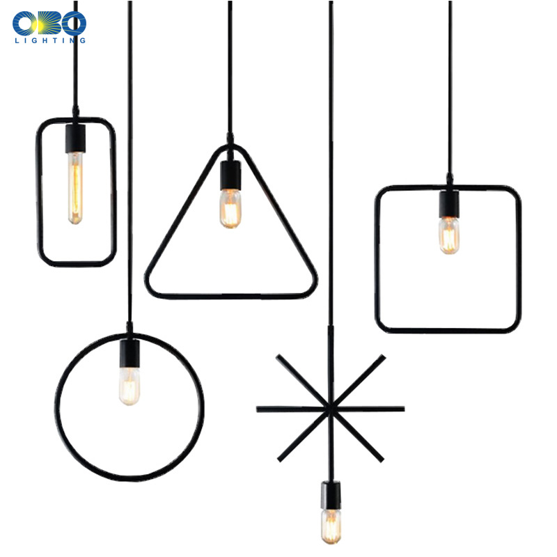 Vintage Black Metal Geometric Shape Pendant Lamp Indoor Lighting Pendant Lights Cord Lenght 1 2M E27