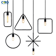 Vintage Black Metal Geometric Shape Pendant Lamp Indoor Lighting Pendant Lights Cord Lenght 1.2M  E27 110-240V