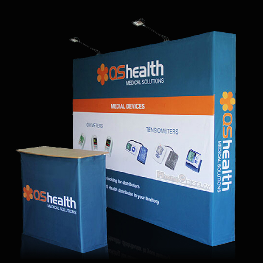 Trade Show Booth Backdrop : Portable fabric straight pop up stand tradeshow