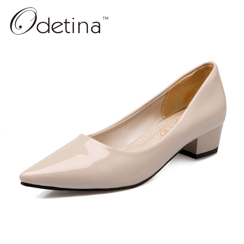 Odetina 2017 New Candy Color Pointed Toe Womens Chunky Heel Pumps Dress Shoes Work Elegant Ladies Office Heels Big Size 32-43 2015 new design womens wedges heels pumps fashion pointed toe wood heel single shoes large size thick heels ladies shoes 34 43