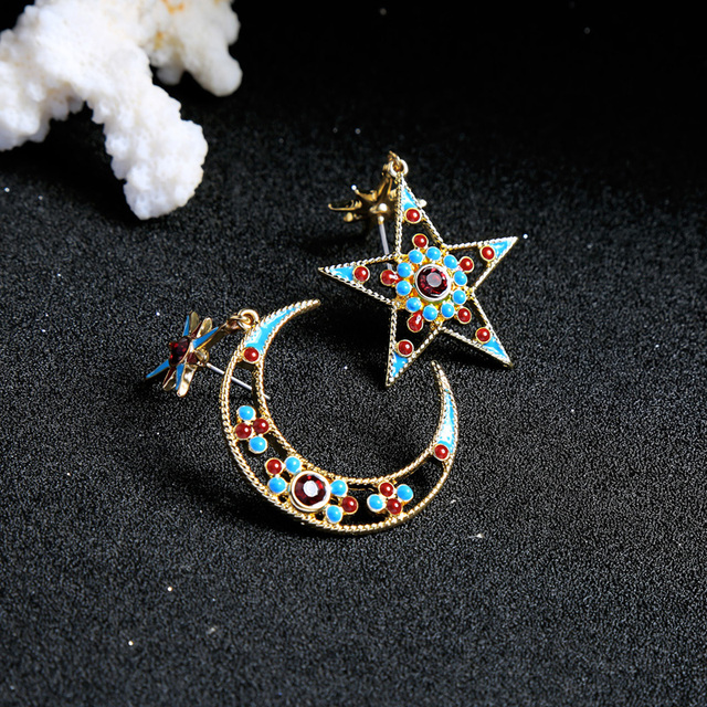 KISS ME Women Star Moon Dangle Personalized Fashion Alloy Enamel Earrings 4