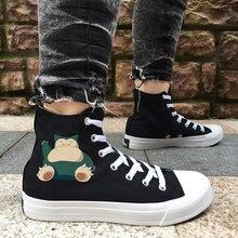 5cb7d9ba4c Wen Design Anime Pokemon Snorlax Pocket Monster Canvas Skateboarding Shoes Men  Black High Top White Women
