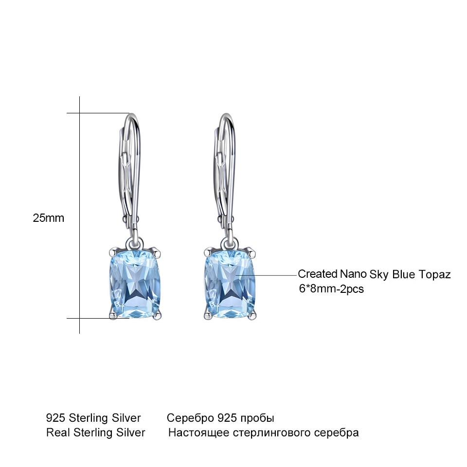 UMCHO prirodni nebo plavo Topaz Drop naušnice Pravi 100% srebrni 925 - Fine nakit - Foto 5