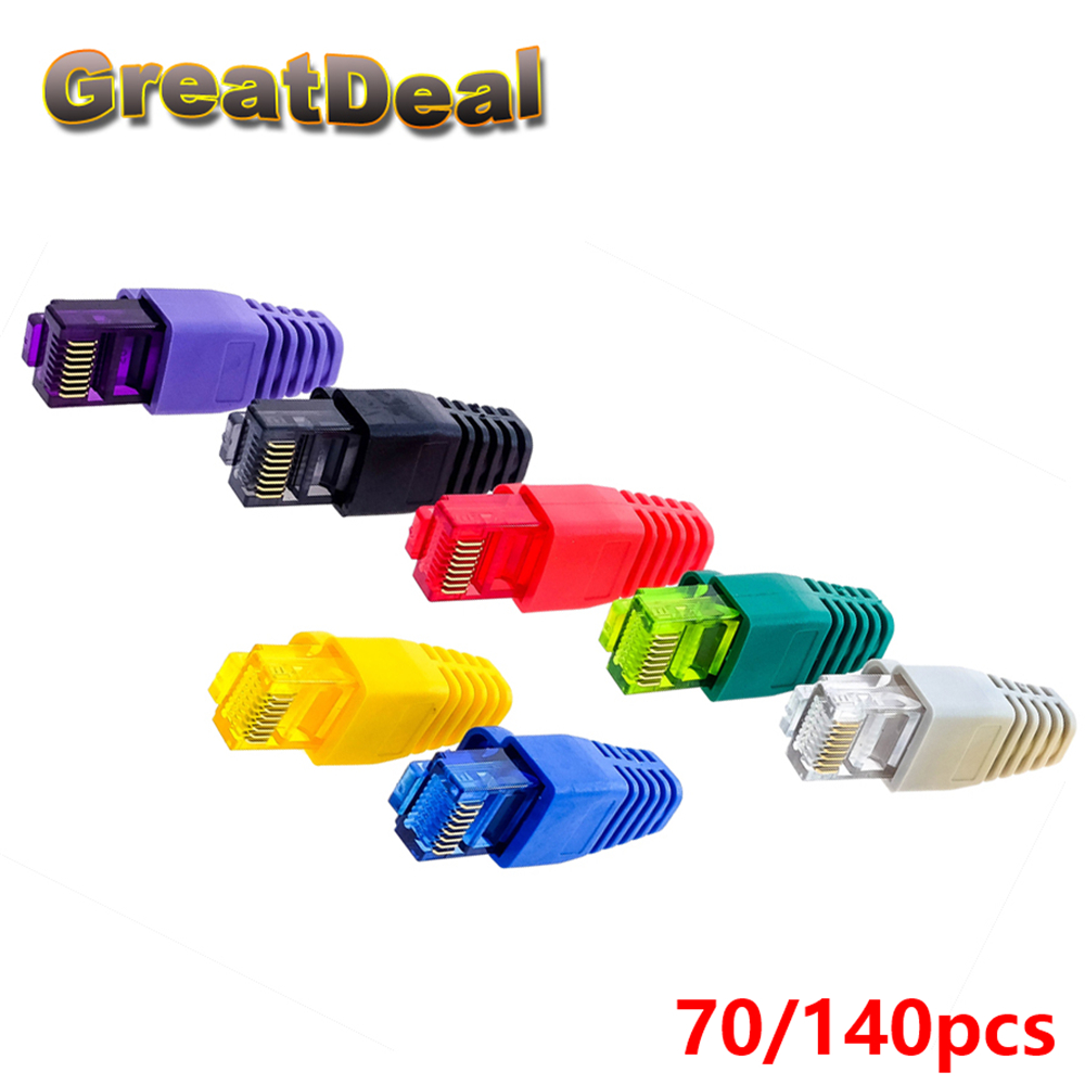 все цены на 35/70/140pcs Colorful CAT5 CAT5e RJ45 Connector Caps RJ45 Modular Plugs Network Ethernet Cable Plug RJ45 Connector Boots HY1544 онлайн