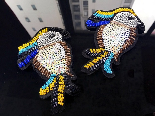 Parrot sequins rhinestones bead brooch patches applique vintage