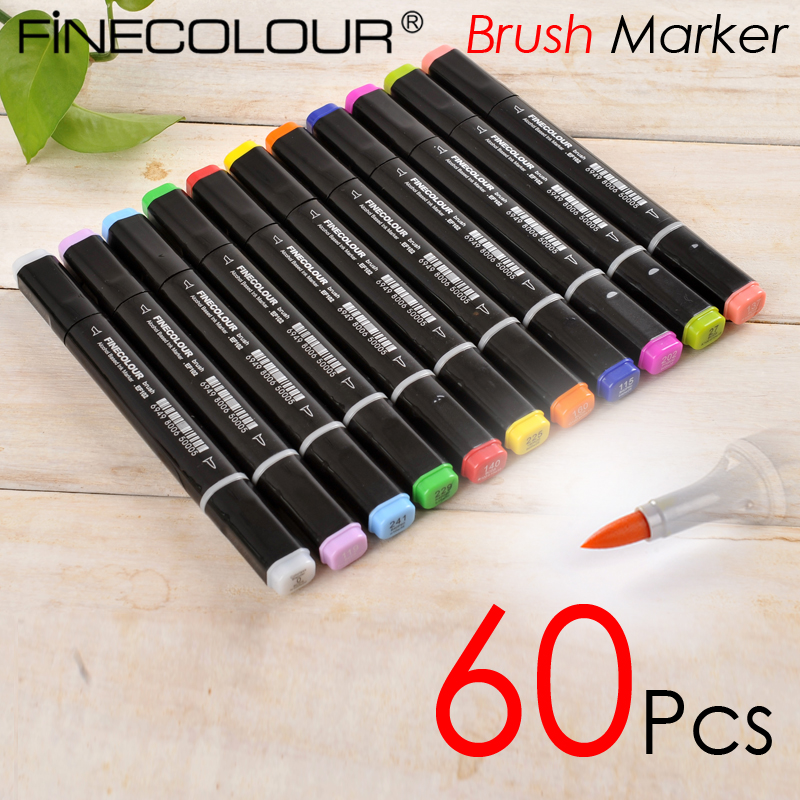 Finecolour 60 Pcs Brush Marker Alcohol Based Drawing Soft head Dual Tips Students Graffiti Sketch art pen soft computing based techniques in cellular manufacturing systems